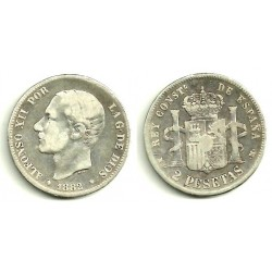 Alfonso XII. 1882*(-----). 2 Pesetas (RC) (Plata) Ceca de Madrid MS-M