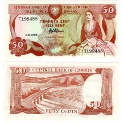(52) Chipre. 1989. 50 Cents (SC)
