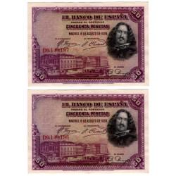 España. 1928. 50 Pesetas (x2) (EBC) Serie D. Pareja