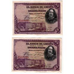 España. 1928. 50 Pesetas (x2) (MBC) Serie E. Pareja