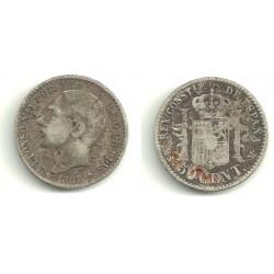 Alfonso XII. 1881*(8-1). 50 Céntimos (RC) (Plata) Ceca de Madrid MS-M