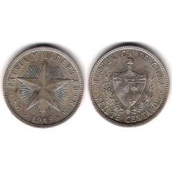 (13.2) Cuba. 1949. 20 Centavos (EBC) (Plata)
