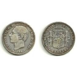 Alfonso XII. 1881*(-----). 2 Pesetas (BC) (Plata) Ceca de Madrid MS-M