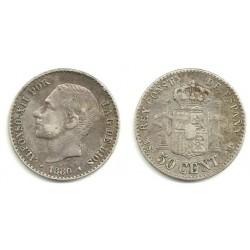 Alfonso XII. 1880*(---). 50 Céntimos (MBC) (Plata) Ceca de Madrid MS-M