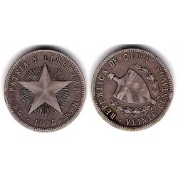 (13.2) Cuba. 1915. 20 Centavos (MBC-) (Plata)