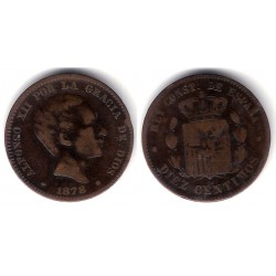 Alfonso XII. 1878. 10 Céntimos (BC) Ceca de Barcelona OM