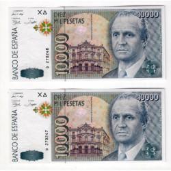 España. 1992. 10000 Pesetas (x2) (SC) Serie D. Pareja Correlativa