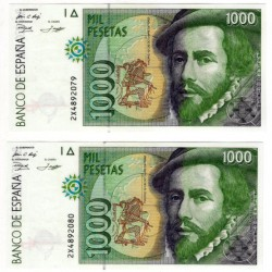 España. 1992. 1000 Pesetas (x2) (SC) Serie 2X. Pareja Correlativa