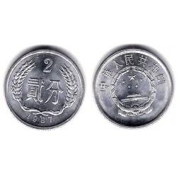 (2) China. 1987. 2 Fen (SC)