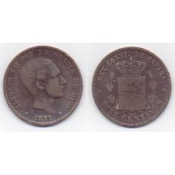 Alfonso XII. 1877. 10 Céntimos (MBC) Ceca de Barcelona OM