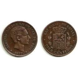 Alfonso XII. 1877. 10 Céntimos (EBC) Ceca de Barcelona OM