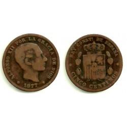 Alfonso XII. 1877. 5 Céntimos (RC) Ceca de Barcelona OM
