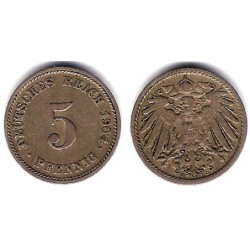 (11) Imperio Alemán. 1904(D). 5 Pfennig (MBC)