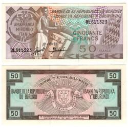 (28c) Burundi. 1991. 50 Francs (SC)