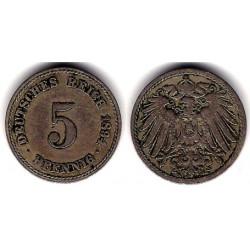 (11) Imperio Alemán. 1894(A). 5 Pfennig (MBC)