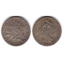 (854) Francia. 1901. 50 Centimes (BC-) (Plata)