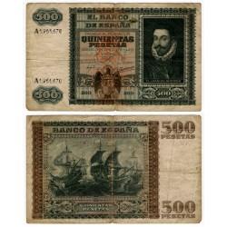 Estado Español. 1940. 500 Pesetas (RC+) Leves roturas