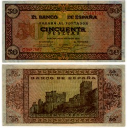 Estado Español. 1938. 50 Pesetas (EBC) Serie C