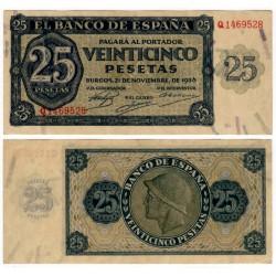 Estado Español. 1936. 25 Pesetas (SC) Serie Q