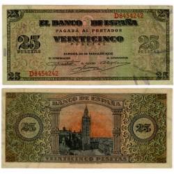 Estado Español. 1938. 25 Pesetas (SC) Serie D