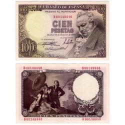 Estado Español. 1946. 100 Pesetas (EBC) Serie B. Pequeños agujeros