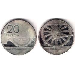 (78) Suiza. 1997. 20 Francs (SC) (Plata)
