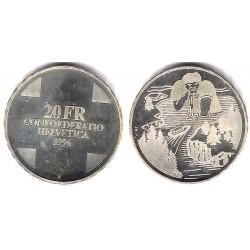(76) Suiza. 1996. 20 Francs (SC) (Plata)