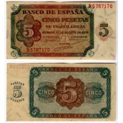 Estado Español. 1938. 5 Pesetas (EBC) Serie B
