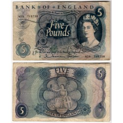 (375a) Gran Bretaña. 1963-71. 5 Pounds (BC+)