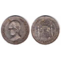 Alfonso XIII. 1890*(----0). 5 Pesetas (BC) (Plata) Ceca de Madrid PG-M