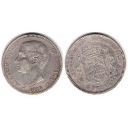 Alfonso XII. 1876*(---7-). 5 Pesetas (BC) (Plata) Ceca de Madrid DE-M. Variante