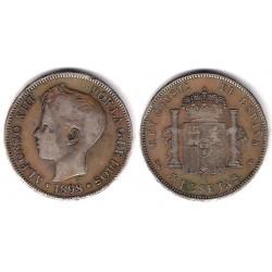 Alfonso XIII. 1989*(18-98). 5 Pesetas (BC) (Plata) Ceca de Madrid SG-V. Falsa de Época