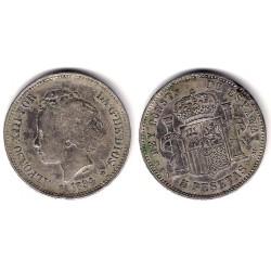 Alfonso XIII. 1894*(18-94). 5 Pesetas (BC) (Plata) Ceca de Madrid MS-M. Falsa de Época