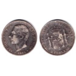 Alfonso XII. 1884*(18-84). 5 Pesetas (BC) (Plata) Ceca de Madrid MS-M. Variante