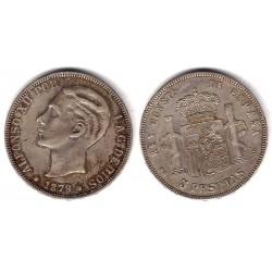 Alfonso XII. 1879*(1--79). 5 Pesetas (MBC) (Plata) Ceca de Madrid MS-M. Falsa de Época