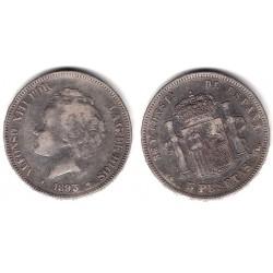 Alfonso XIII. 1893*(-----). 5 Pesetas (BC) (Plata) Ceca de Madrid PG-L. Variante