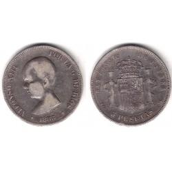 Alfonso XIII. 1888*(18-88). 5 Pesetas (BC) (Plata) Ceca de Madrid MP-M