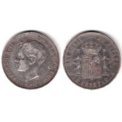 Alfonso XIII. 1897*(18-97). 5 Pesetas (BC+) (Plata) Ceca de MAdrid SG-V