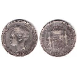 Alfonso XIII. 1898*(18---). 5 Pesetas (BC) (Plata) Ceca de Madrid SG-V