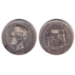 Alfonso XIII. 1898*(18-98). 5 Pesetas (BC) (Plata) Ceca de Madrid SG-V