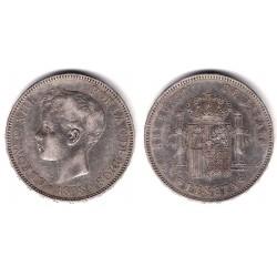 Alfonso XIII. 1898*(18-98). 5 Pesetas (BC+) (Plata) Ceca de Madrid SG-V