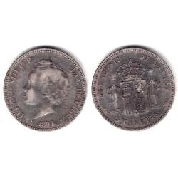 Alfonso XIII. 1894*(-----). 5 Pesetas (BC) (Plata) Ceca de Madrid PG-V