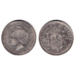 Alfonso XIII. 1892*(18-9-). 5 Pesetas (BC) (Plata) Ceca de Madrid PG-M