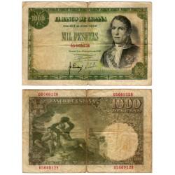 Estado Español. 1949. 1000 Pesetas (BC-) Sin Serie. Pequeñas roturas doblez central