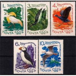 (4465 a 4469) Unión Soviética. 1976. Serie Completa. Aves (Nuevo)