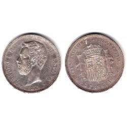 Amadeo I. 1871*(18-74). 5 Pesetas (MBC+) (Plata) Ceca de Madrid DE-M