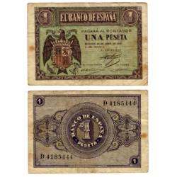 Estado Español. 1938. 1 Peseta (BC) Serie D. Manchas
