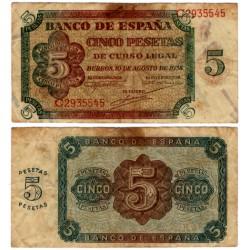 Estado Español. 1938. 5 Pesetas (BC) Serie C. Mancha