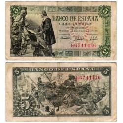 Estado Español. 1945. 5 Pesetas (MBC) Serie G