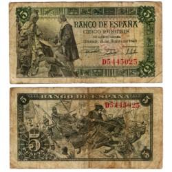 Estado Español. 1945. 5 Pesetas (BC) Serie D